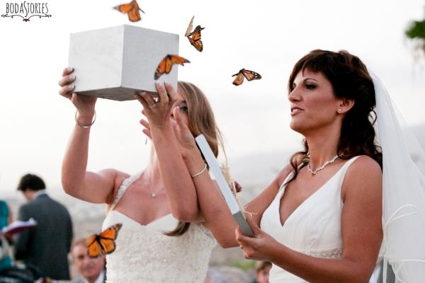 V&M, suelta de mariposas, d-bodas.com wedding planners