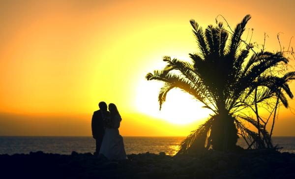 boda puesta de sol